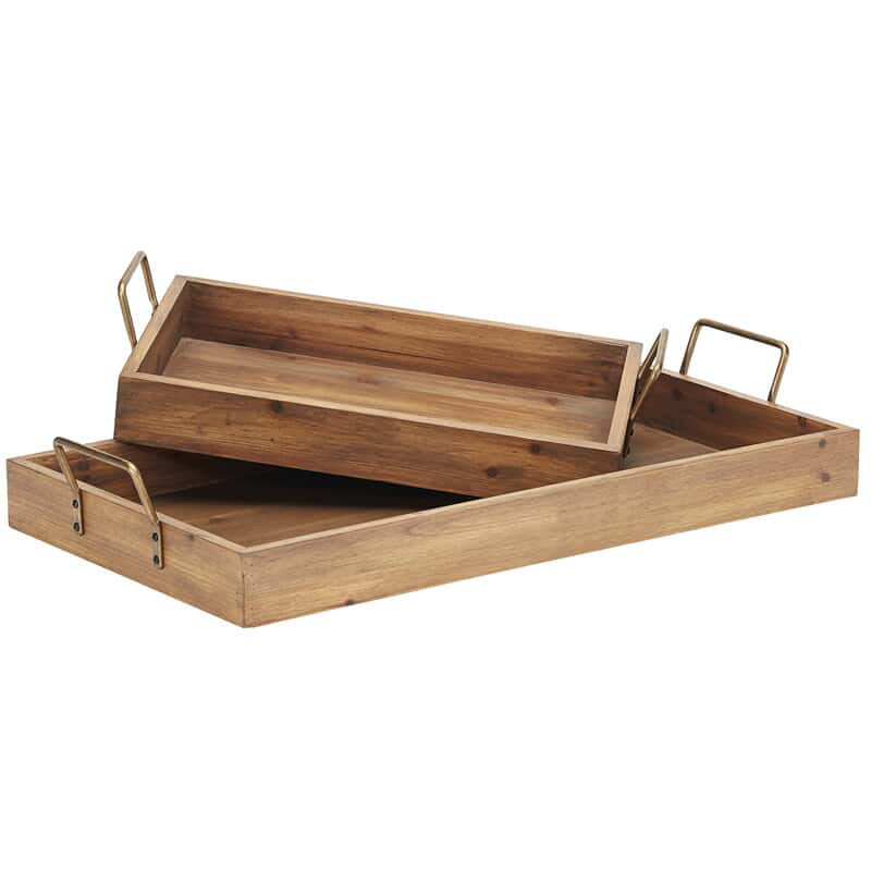 S 2 Breakfast Trays W Metal Handles Closeout Magnolia Home Accents Accessories Wg R Furniture