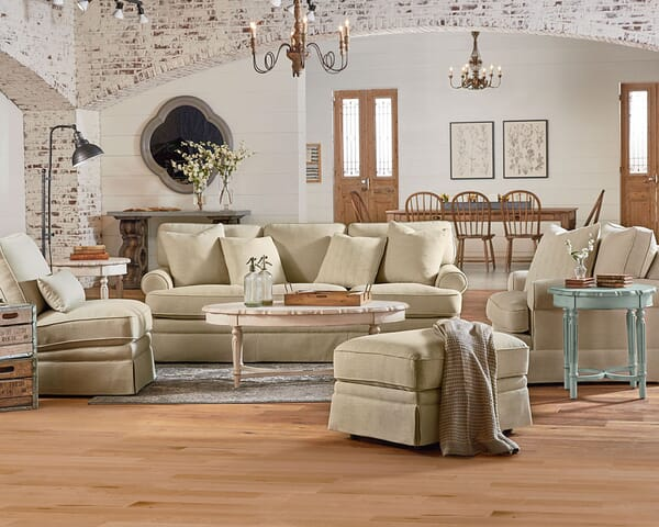 The Heritage Collection From Magnolia Home By Joanna Gaines Beautifully Showcases Farmhouse Style Products Shown Sofa Chair And Ottoman