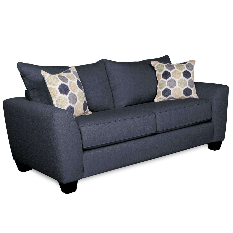Downtown blue loveseat loveseats sale wgr furniture