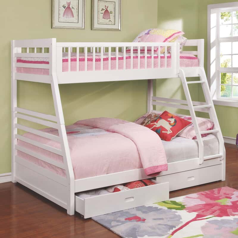 Mamie White Twin Full Storage Bunk Bed