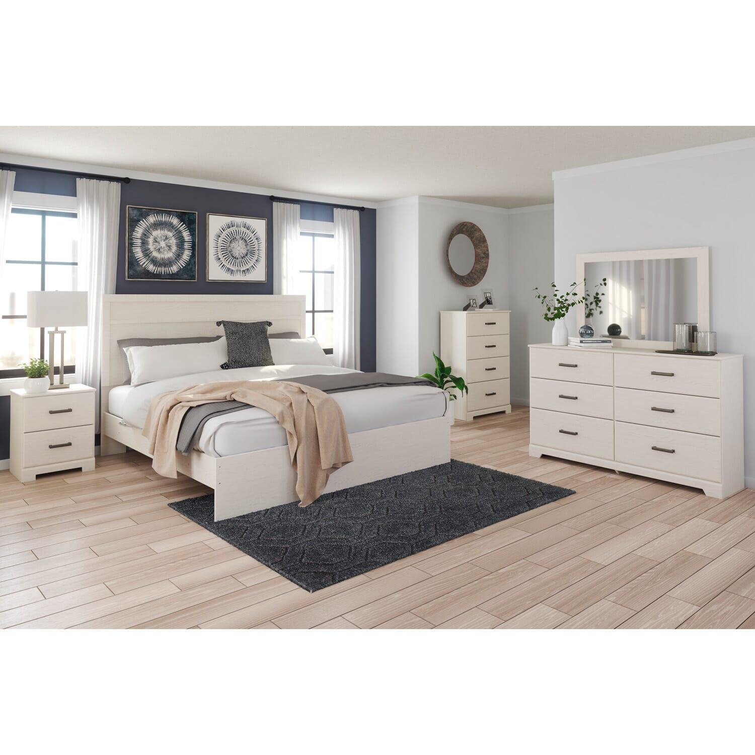 cambell white 7pc king bedroom package  powerbuy